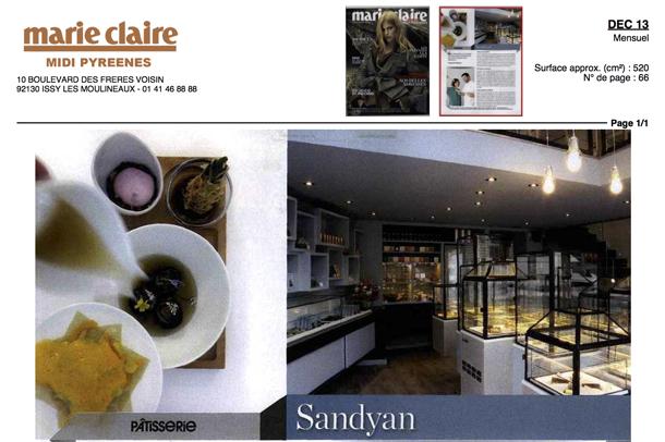 La pâtisserie Sandyan sur Marie Claire